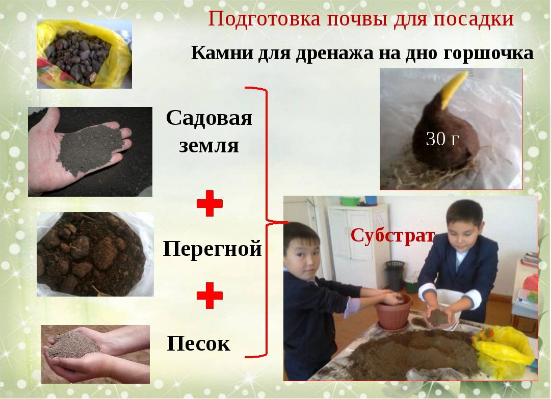 Камни для дренажа на дно горшочка Садовая земля Перегной Песок Подготовка поч...