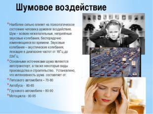 Шумовое воздействие Наиболее сильно влияет на психологическое состояние челов