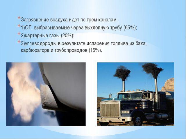 Загрязнение воздуха идет по трем каналам: 1)ОГ, выбрасываемые через выхлопную...