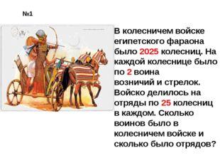 В колесничем войске египетского фараона было 2025 колесниц. На каждой колесни