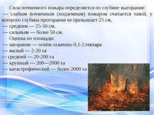 Сила почвенного пожара определяется по глубине выгорания: — слабым почвенн