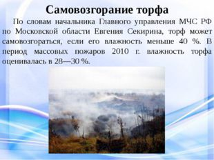 Самовозгорание торфа По словам начальника Главного управления МЧС РФ по Мос