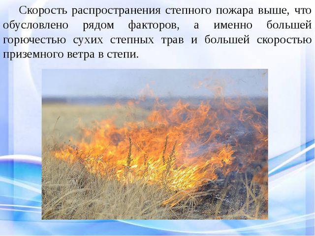 Скорость распространения степного пожара выше, что обусловлено рядом фактор...