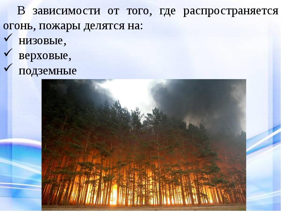В зависимости от того, где распространяется огонь, пожары делятся на: низов...