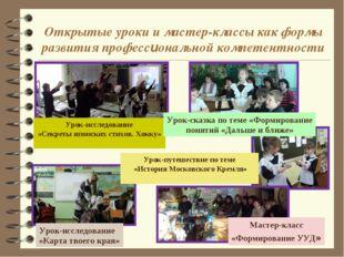 Открытые уроки и мастер-классы как формы развития профессиональной компетентн