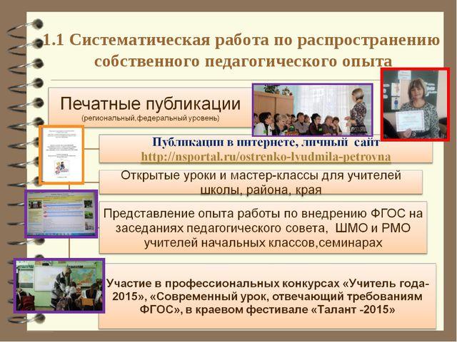 1.1 Систематическая работа по распространению собственного педагогического оп...