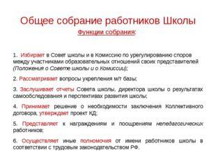 Общее собрание работников Школы Функции собрания: 1. Избирает в Совет школы и