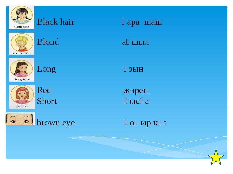 Black hair қара шаш Blond ақшыл Long ұзын Red жирен Short қысқа brown eye қо...