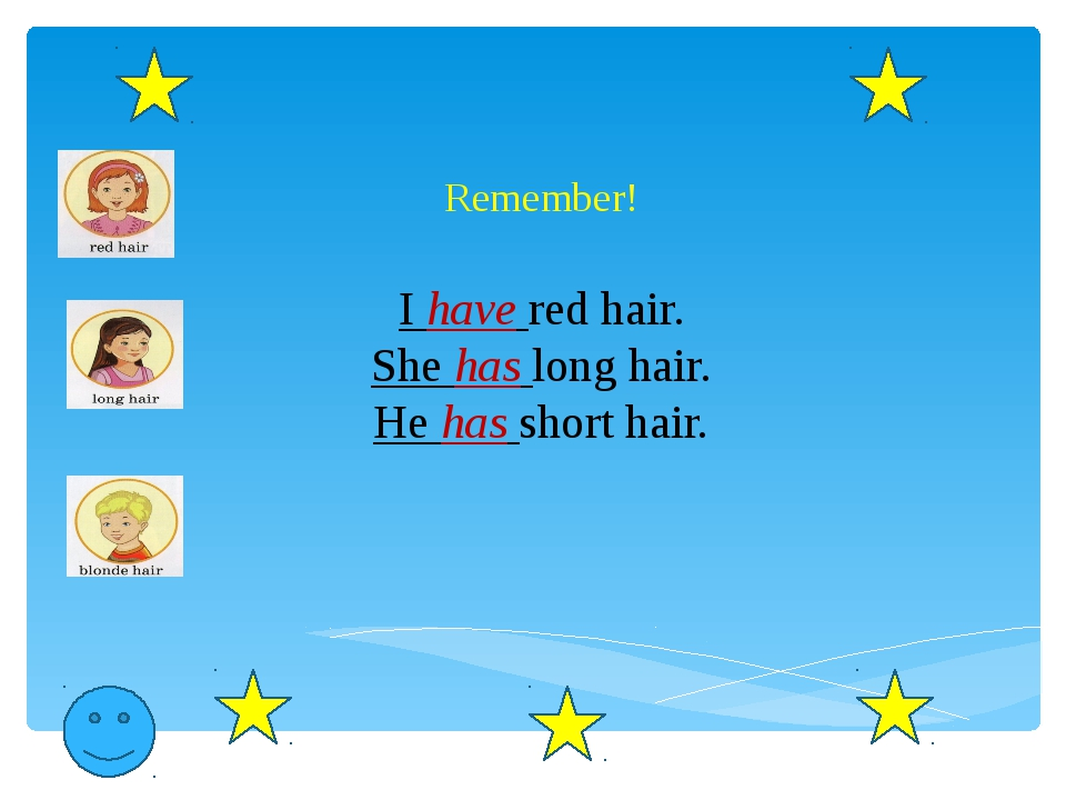 Remember! I have red hair. She has long hair. He has short hair.