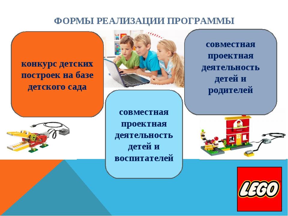 ФОРМЫ РЕАЛИЗАЦИИ ПРОГРАММЫ совместная проектная деятельность детей и воспитат...