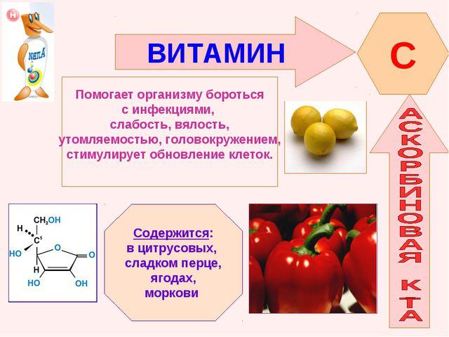 ВИТАМИН C Помогает организму бороться с инфекциями, слабость, вялость, утомля...