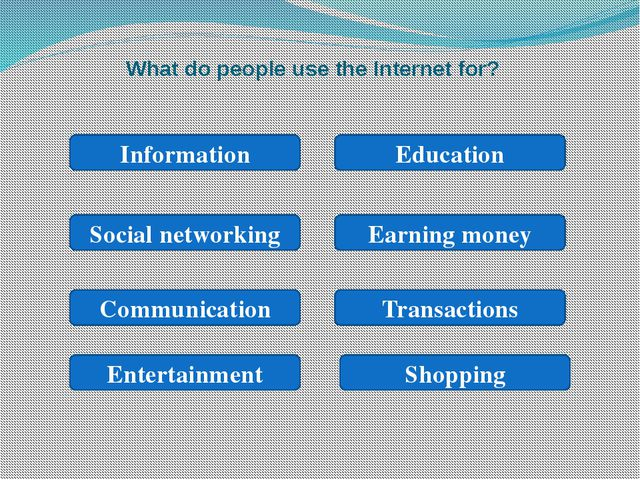 What do people use the Internet for? Information Social networking Earning mo...