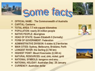 OFFICIAL NAME : The Commonwealth of Australia CAPITAL: Canberra TOTAL AREA:
