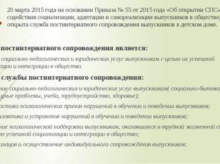 20 марта 2015 года на основании Приказа № 55 от 2015 года «Об открытии СПС» в