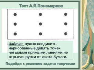 Задача: нужно соединить нарисованные девять точек четырьмя прямыми линиями н