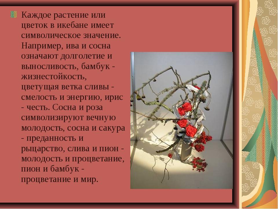 Каждое растение или цветок в икебане имеет символическое значение. Например,...