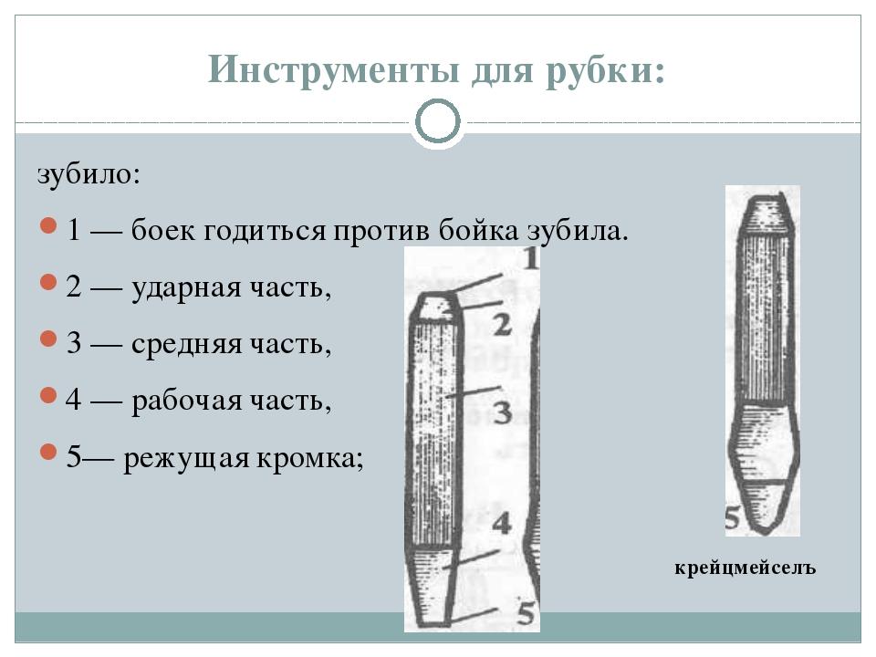 Инструменты для рубки: зубило: 1 — боек годиться против бойка зубила. 2 — уда...