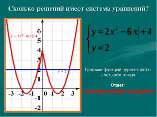 Сколько решений имеет система уравнений? Графики функций пересекаются в четыр