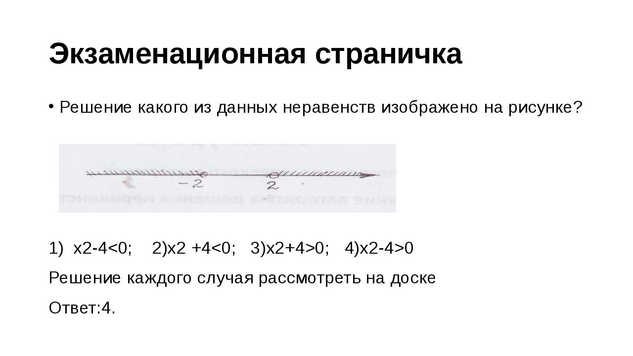 Экзаменационная страничка Решение какого из данных неравенств изображено на р...