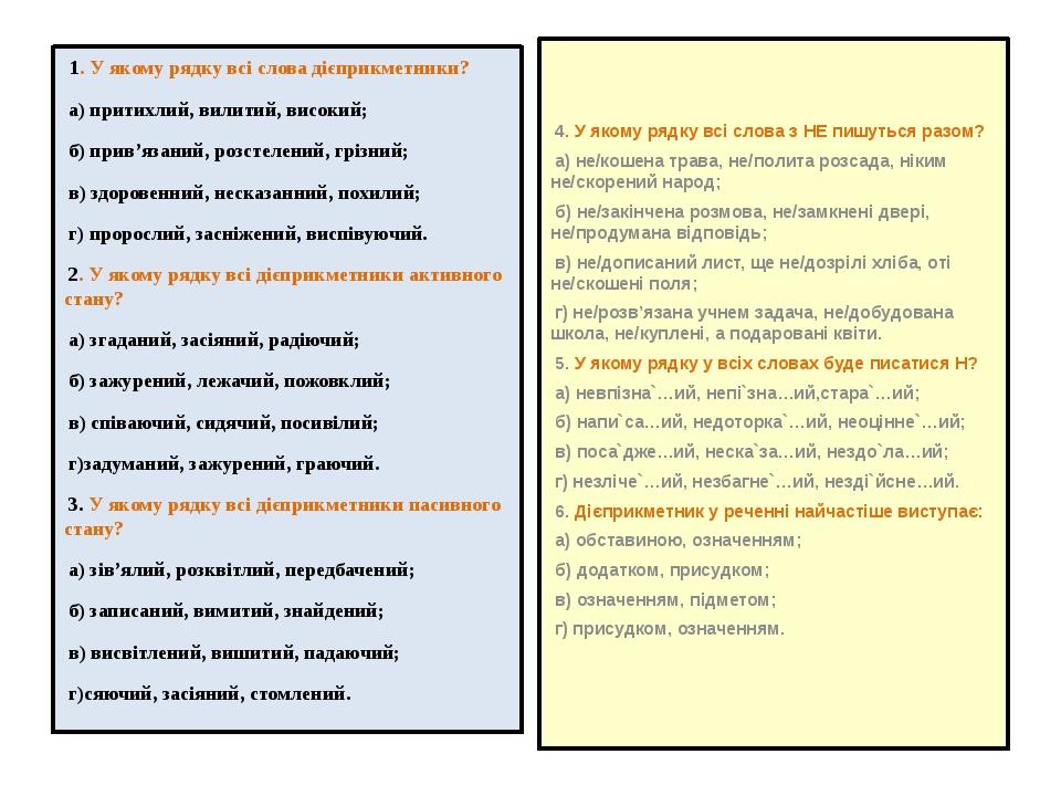 1. У якому рядку всі слова дієприкметники? а) притихлий, вилитий, високий; б...