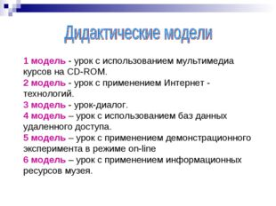 1 модель - урок с использованием мультимедиа курсов на CD-ROM. 2 модель - ур