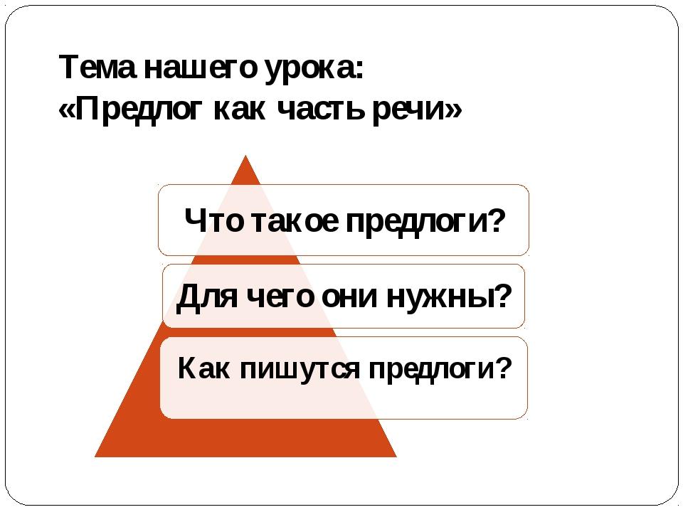 Тема нашего урока: «Предлог как часть речи»