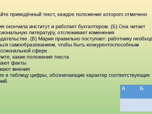 Прочитайте приведённый текст, каждое положение которого отмечено буквой. (А)...