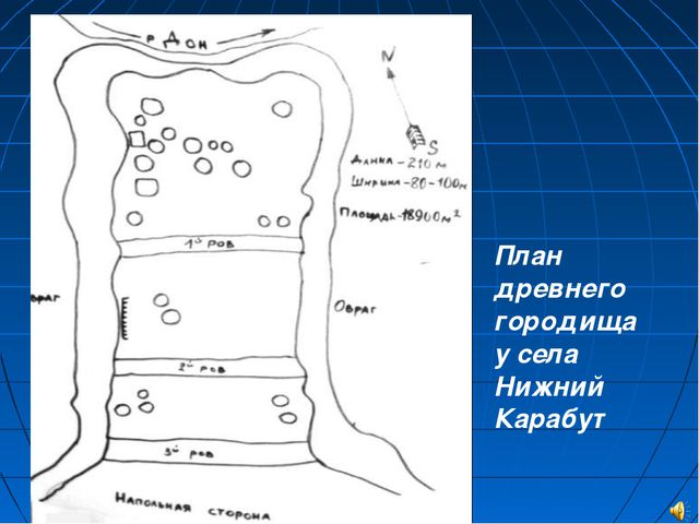 План древнего городища у села Нижний Карабут