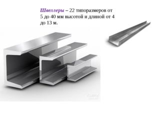 Швеллеры – 22 типоразмеров от 5 до 40 мм высотой и длиной от 4 до 13 м. Препо
