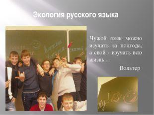 Экология русского языка Чужой язык можно изучить за полгода, а свой - изучать