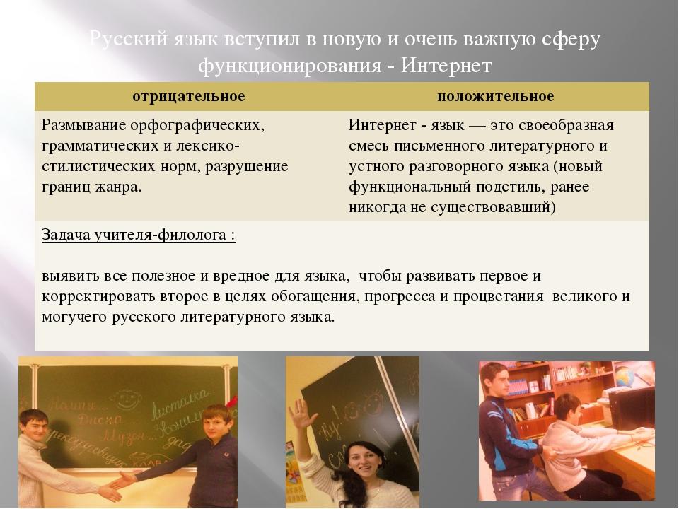 Русский язык вступил в новую и очень важную сферу функционирования - Интерне...