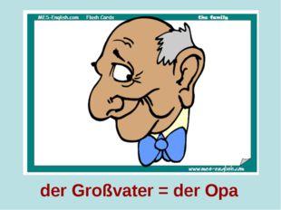der Großvater = der Opa