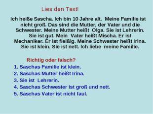 Ich heiße Sascha. Ich bin 10 Jahre alt. Meine Familie ist nicht groß. Das si
