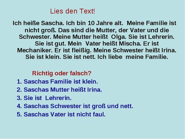 Ich heiße Sascha. Ich bin 10 Jahre alt. Meine Familie ist nicht groß. Das si...