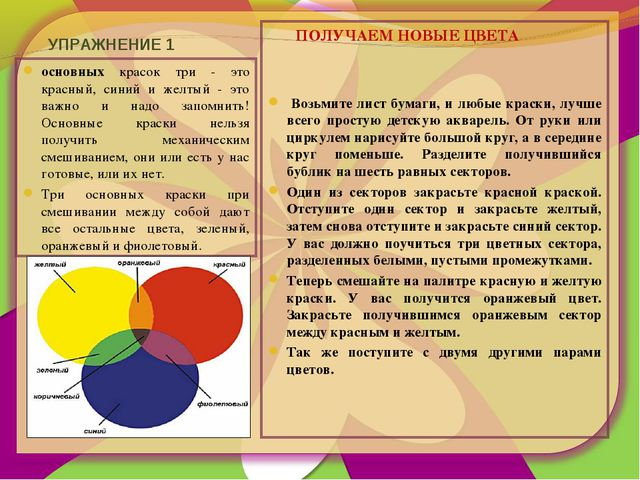 УПРАЖНЕНИЕ 1 основных красок три - это красный, синий и желтый - это важно и...