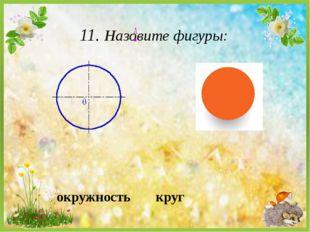 11. Назовите фигуры: круг окружность