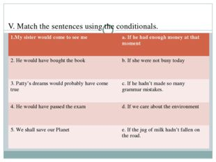 V. Match the sentences using the conditionals. 1.My sister would come to see