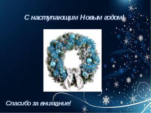 С наступающим Новым годом! Спасибо за внимание!
