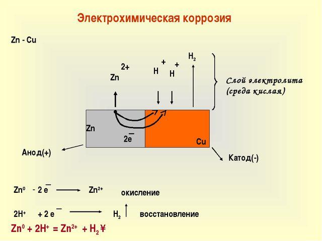 Электрохимическая коррозия Zn - Cu Zn Cu ● Zn 2e H + 2+ + H H2 Zn0 - 2 e Zn2+...
