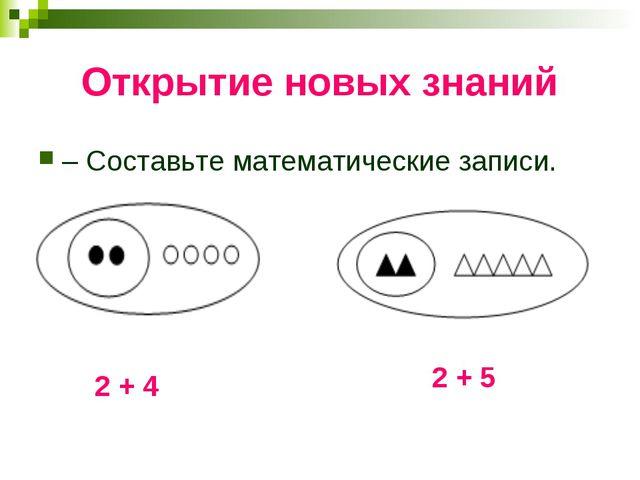 Открытие новых знаний – Составьте математические записи. 2 + 4 2 + 5