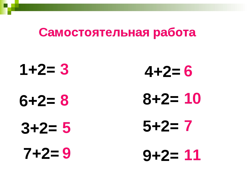 1+2= 4+2= 6+2= 3+2= 7+2= 9+2= 8+2= 5+2= 3 8 5 9 6 10 7 11 Самостоятельная раб...