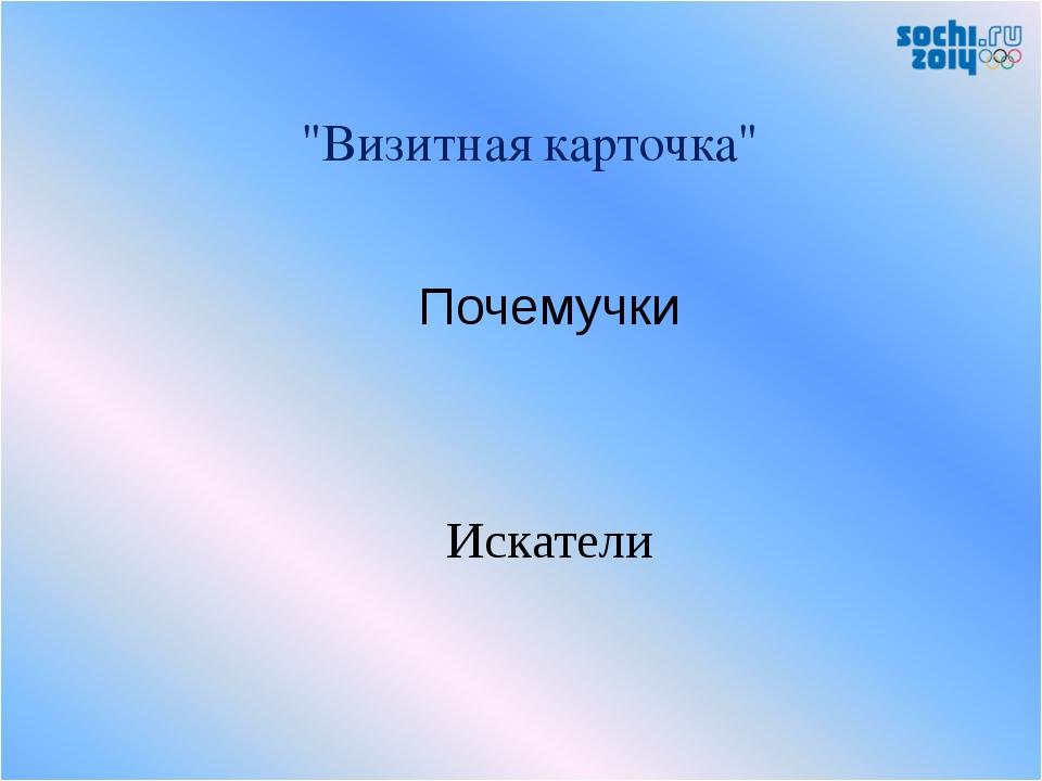 """""""Визитная карточка"""" Почемучки Искатели"""
