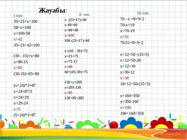 ІІ топ: х -(23+17)=60 x-40=60 x=60+40 x=100 100-(23+17)=60 х+(45 - 30)=75 х+...