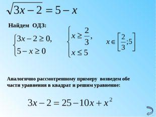 Найдем ОДЗ: Аналогично рассмотренному примеру возведем обе части уравнения в