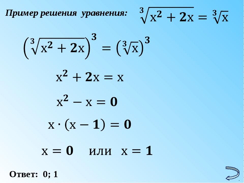 Пример решения уравнения: Ответ: 0; 1