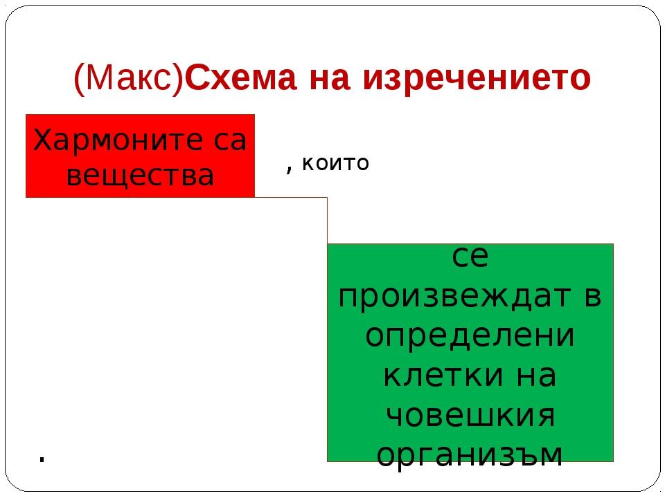 (Макс)Схема на изречението , които . Хармоните са вещества се произвеждат в о...