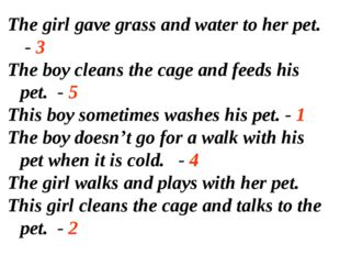 The girl gave grass and water to her pet. - 3 The boy cleans the cage and fee