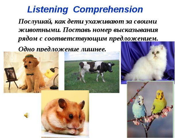 Listening Comprehension Послушай, как дети ухаживают за своими животными. Пос...