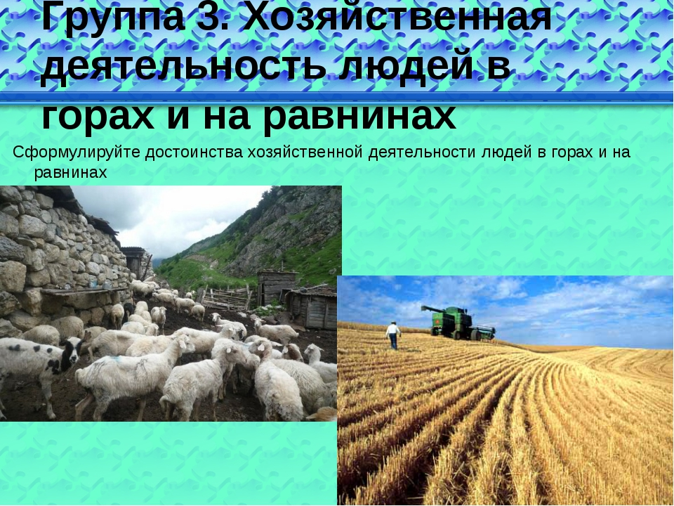 Группа 3. Хозяйственная деятельность людей в горах и на равнинах Сформулируйт...