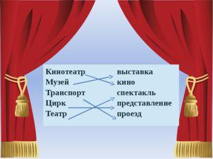Кинотеатр Музей Транспорт Цирк Театр   выставка кино спектакль представлени
